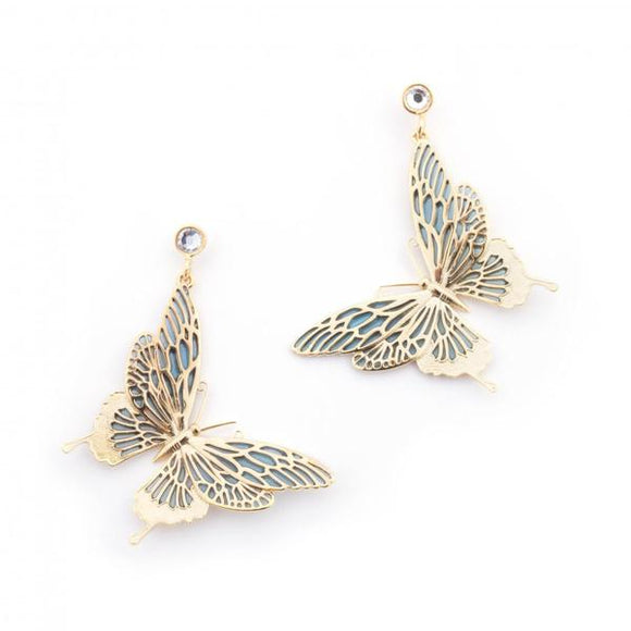 Bill Skinner Gold Plated Butterfly Drop Earrings