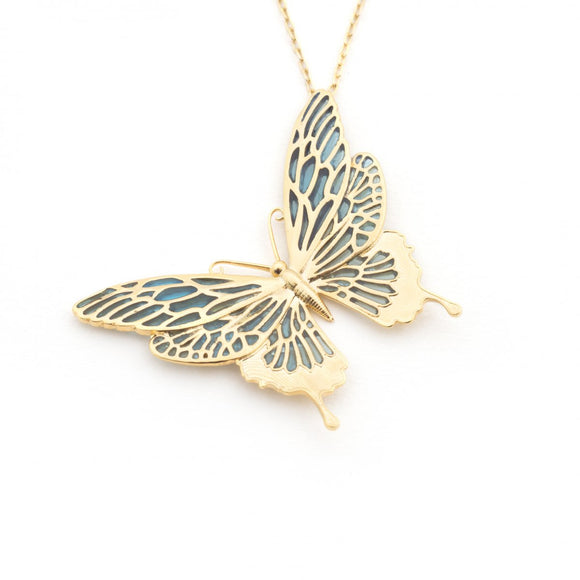 Bill Skinner Gold Plated Butterfly Necklace