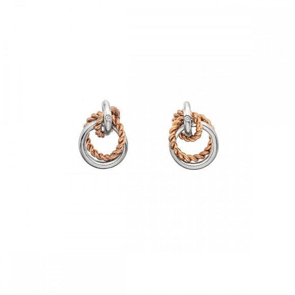 Hot Diamonds Silver Rose Gold Plated Unity Earrings