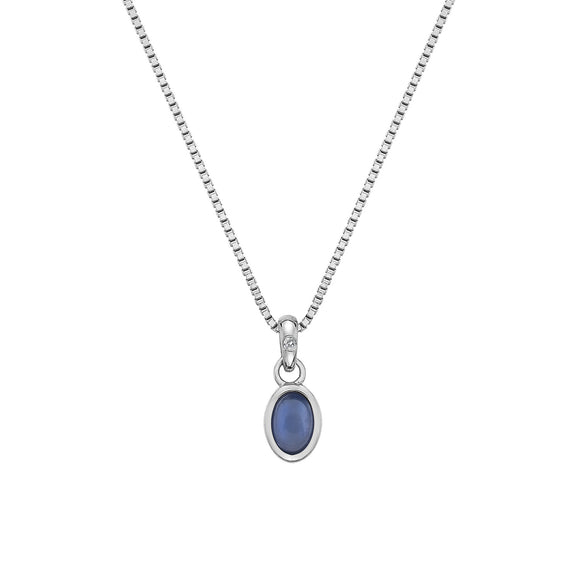Hot Diamonds Birthstone Necklace, September, Blue Agate