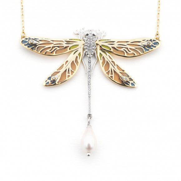 Bill Skinner Gold Plated Dragonfly Statement Necklace