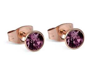 Qudo Rose Gold Bottone Earrings In Amethyst