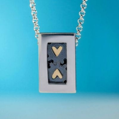 Alan Ardiff Silver and 18ct Gold Heart to Heart Necklace