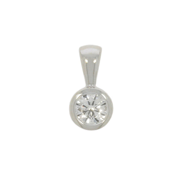 9ct White Gold Single Stone Diamond Pendant