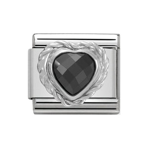 Nomination Silver Black CZ Heart Charm