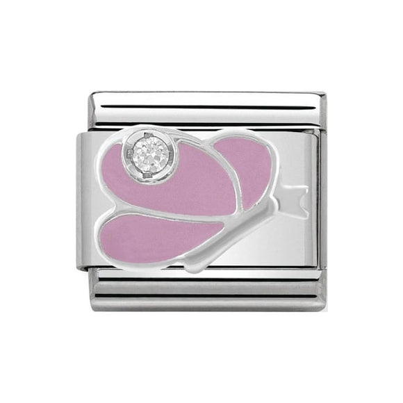 Nomination Silver CZ Pink Butterfly Charm