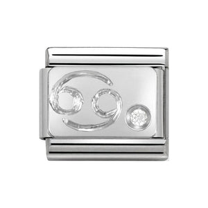 Nomination Silver CZ Cancer Symbol Charm