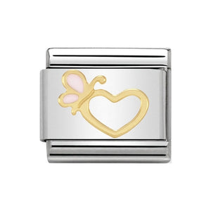 Nomination Gold Heart Pink Butterfly Charm