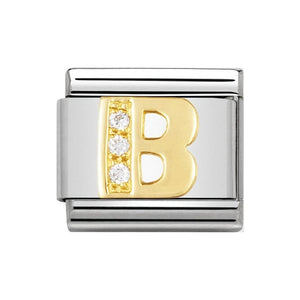Nomination Gold CZ Letter B Charm