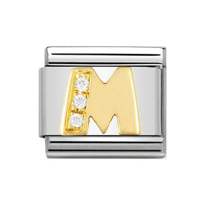 Nomination Gold CZ Letter M Charm
