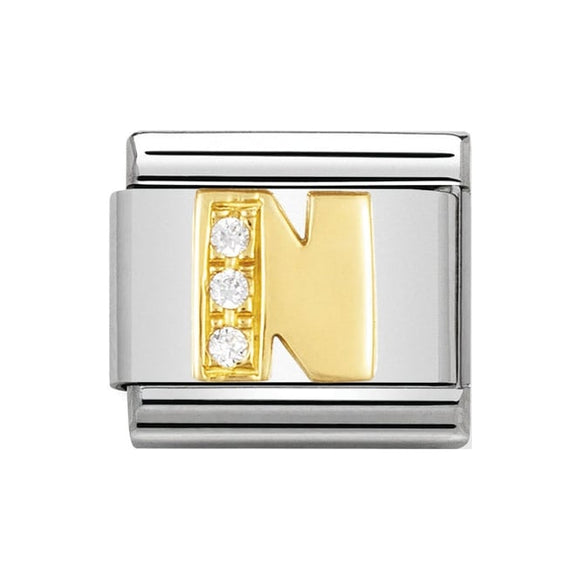 Nomination Gold CZ Letter N Charm