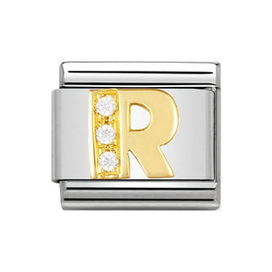 Nomination Gold CZ Letter R Charm