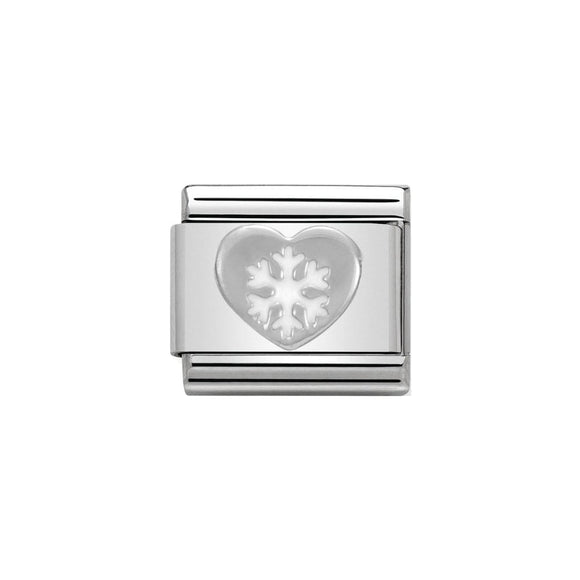 Nomination Silver Heart With Snowflake Charm