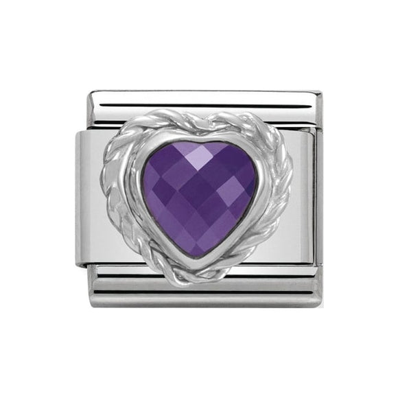 Nomination Silver Purple CZ Heart Charm