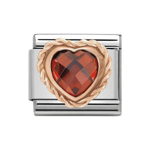 Nomination Rose Gold Red CZ Heart Charm