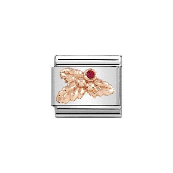 Nomination Rose Gold Red CZ Holly Charm