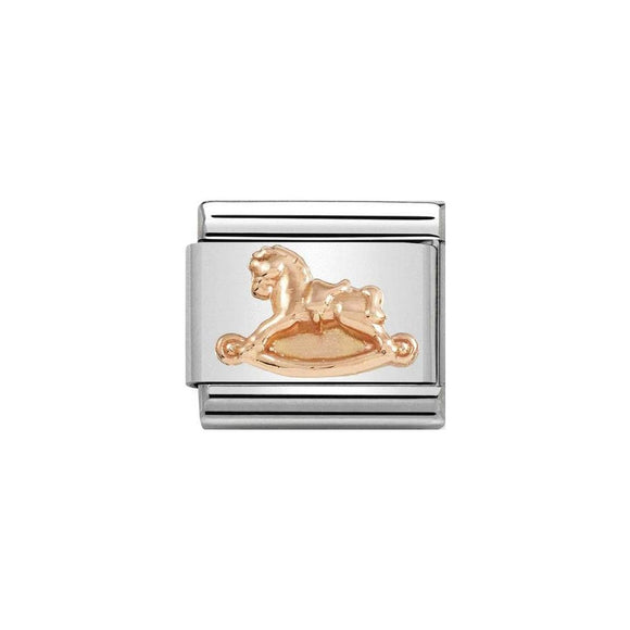 Nomination Rose Gold Rocking Horse Charm