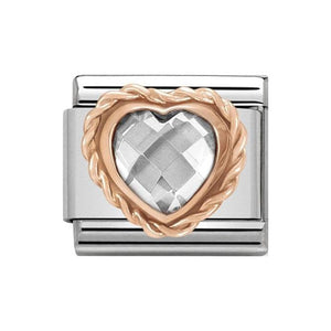 Nomination Rose Gold White CZ Heart Charm
