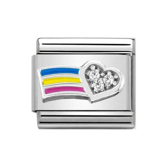 Nomination Silver CZ Rainbow Heart Charm