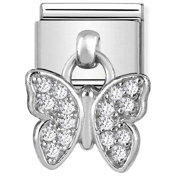 Nomination Silver CZ Butterfly Drop Charm