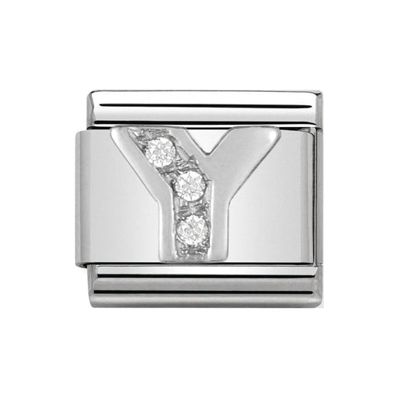 Nomination Silver CZ Letter Y Charm