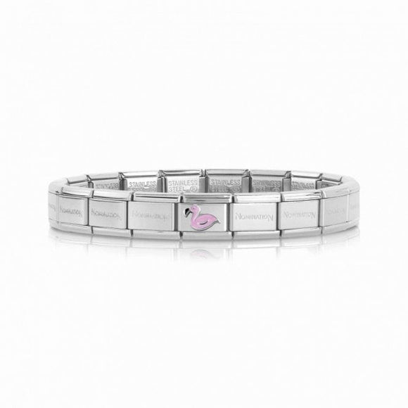 Nomination Bracelet With Silver Pink Flamingo Charm