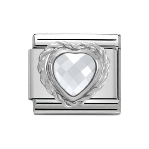 Nomination Silver White CZ Heart Charm