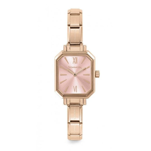 Nomination Classic Paris Watch Rectangular Pink Dial Rose Gold