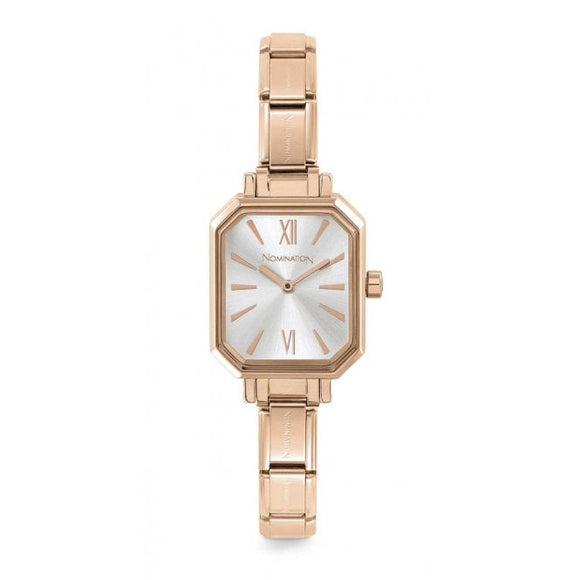 Nomination Classic Paris Watch Rectangular Silver Dial Rose Gold