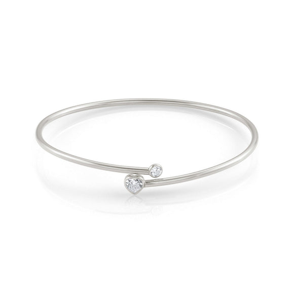Nomination Silver Bangle With Cubic Zirconia Heart