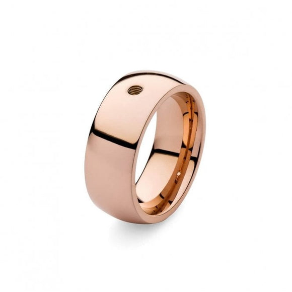 Qudo Wide Plain Ring Rose Gold
