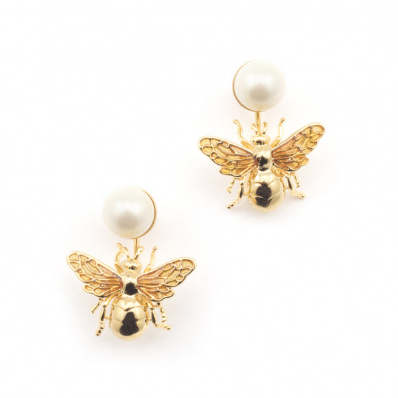 Bill Skinner Gold Plated Bee Pearl Drop Earrings