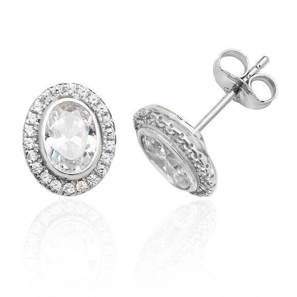 Silver Cubic Zirconia Oval Halo Earrings