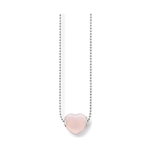 Thomas Sabo Rose Quartz Silver Heart Necklace