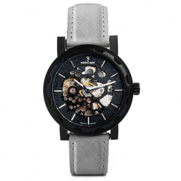Weird Ape Kolt - Black Silver / Slate Grey Leather Skeleton Watch