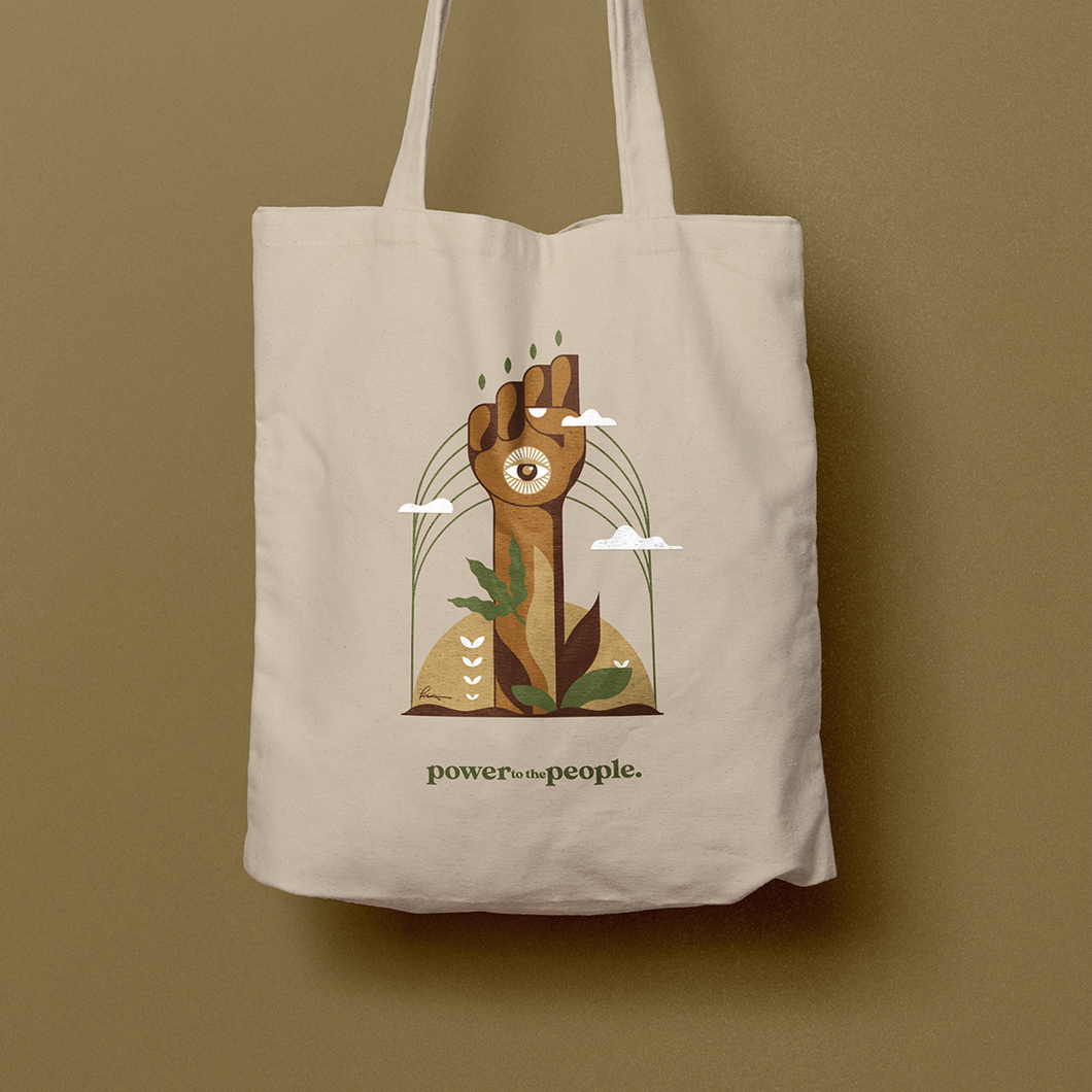 power to the people. from the soil canvas bag
