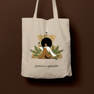power to the people. divine feminine canvas bag
