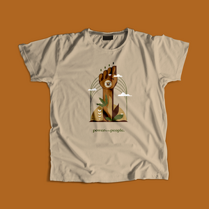 power to the people. from the soil tan tee