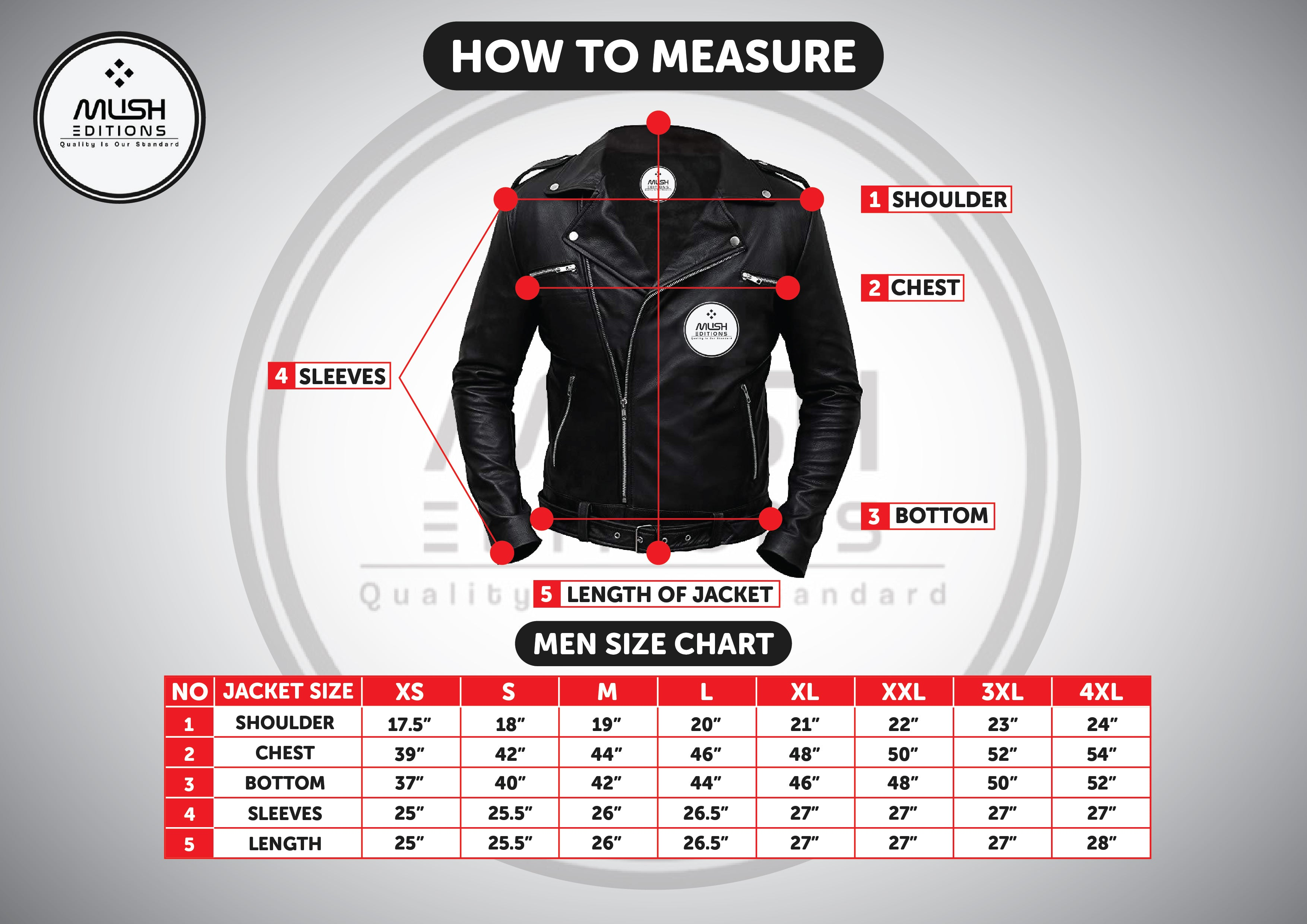 Leather Jacket Men Sizing Chart