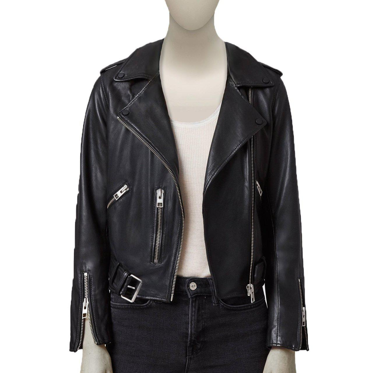 Biker Women Leather Jacket with 3 Front Pockets - Leather Jacket