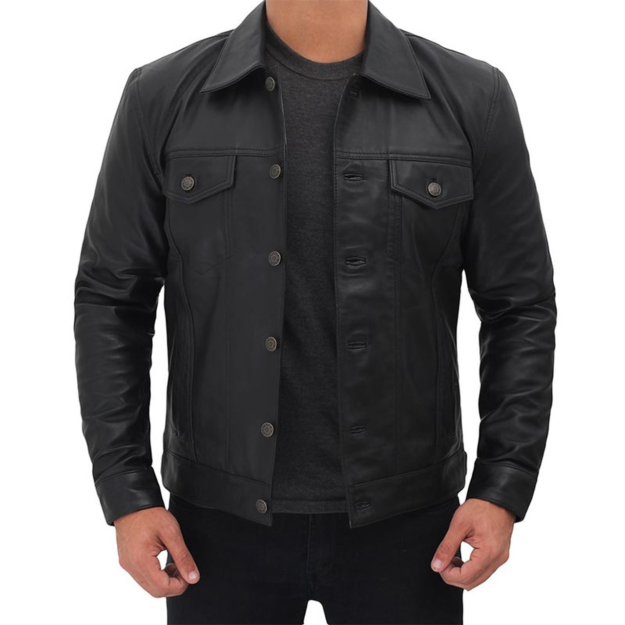 Black Genuine Leather Trucker Jacket - Leather Jacket