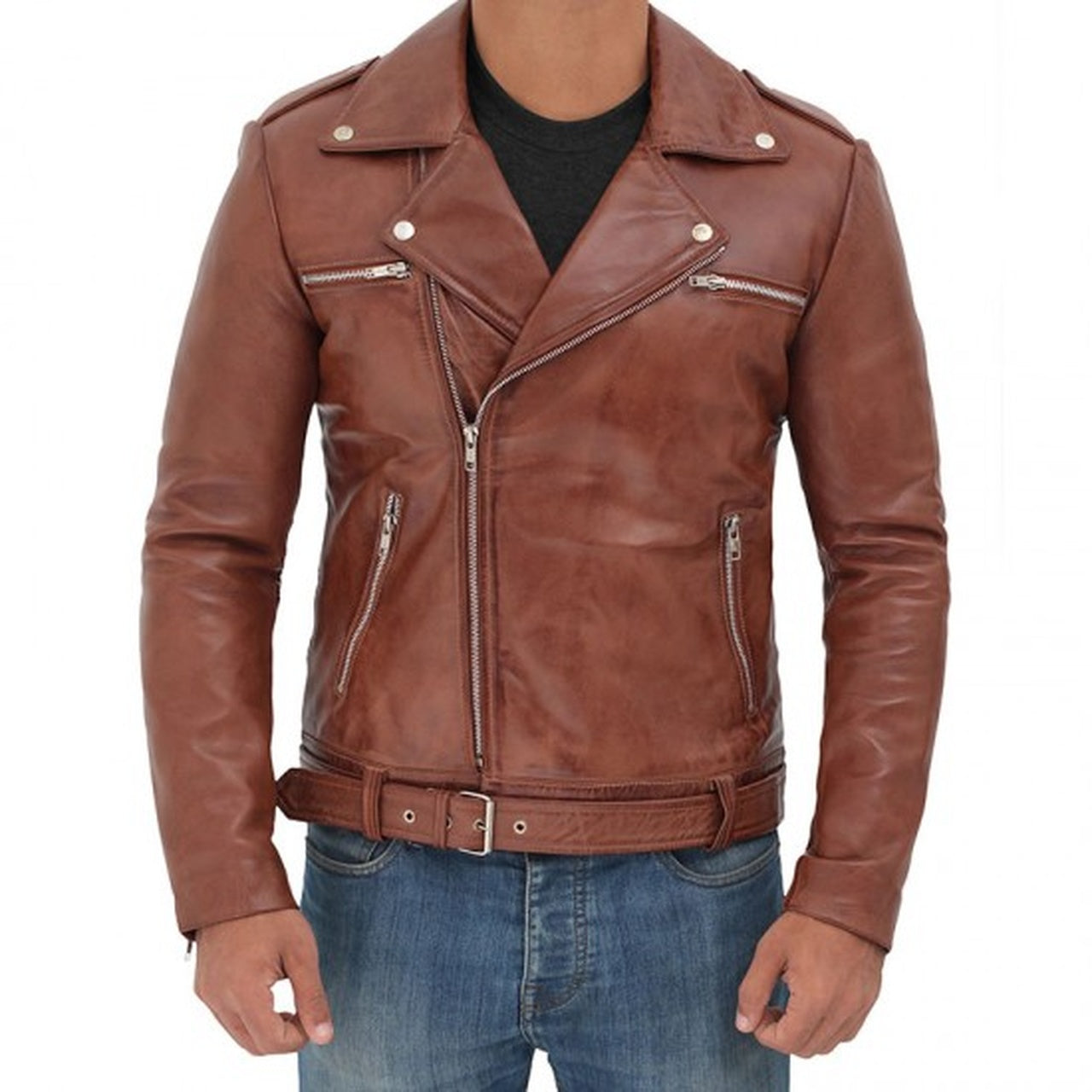 Brown Leather Motorcycle Jacket for Men - Leather Jacket