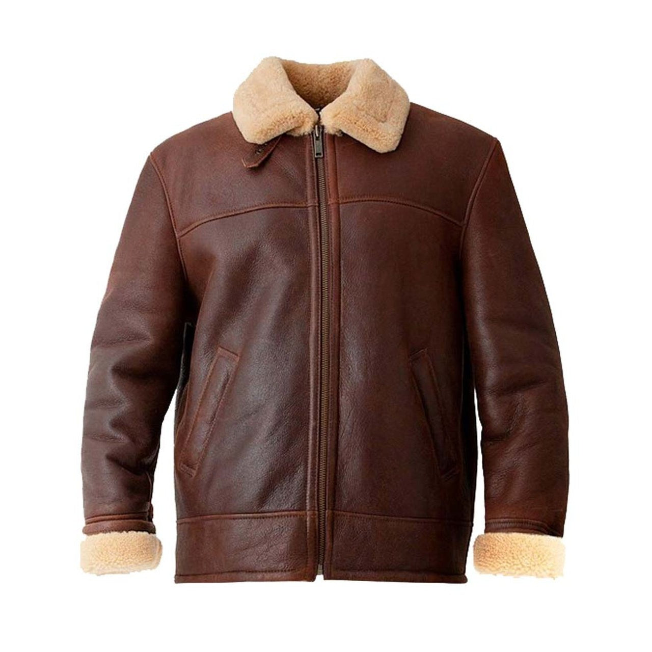 Brown Men Aviator Leather Jacket - Leather Jacket