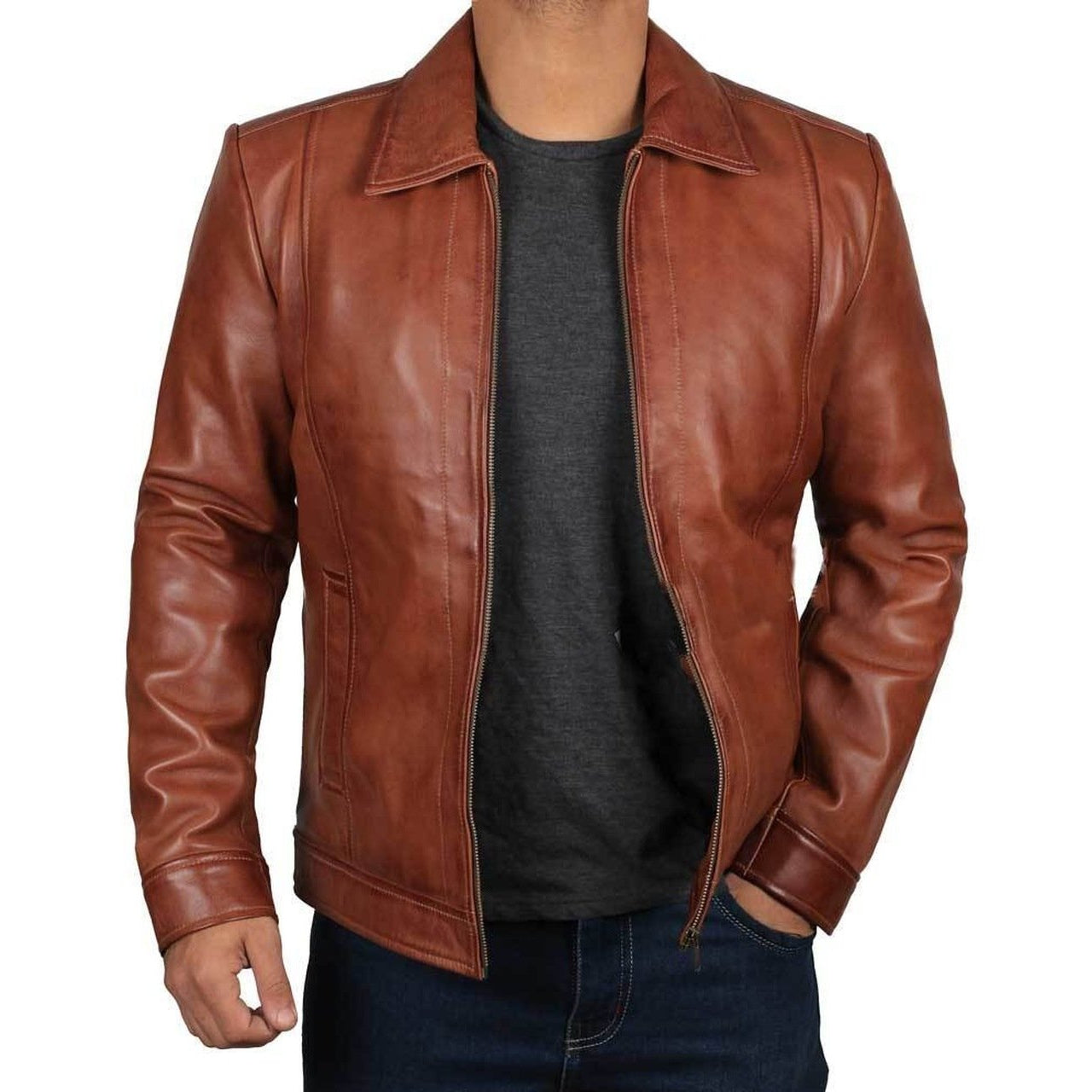 Casual Stylish Brown Fitted Biker Leather Mens Jacket - Leather Jacket