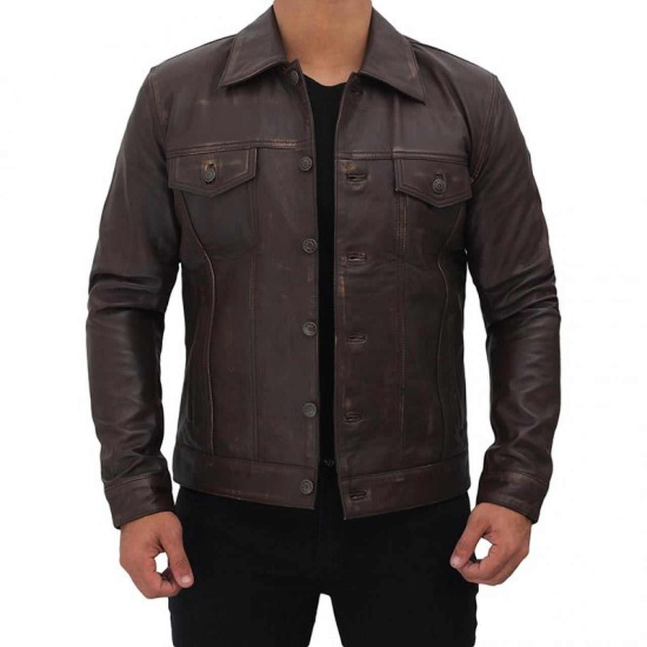 Dark Brown Leather Trucker Jacket Men - Leather Jacket