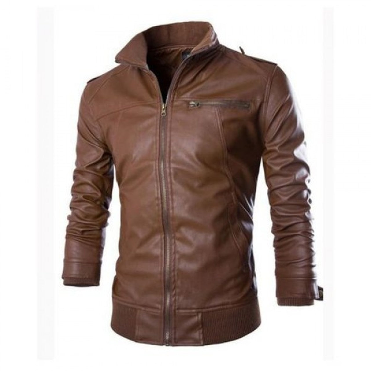 Genuine Leather Jacket with brown Collar and HEM
