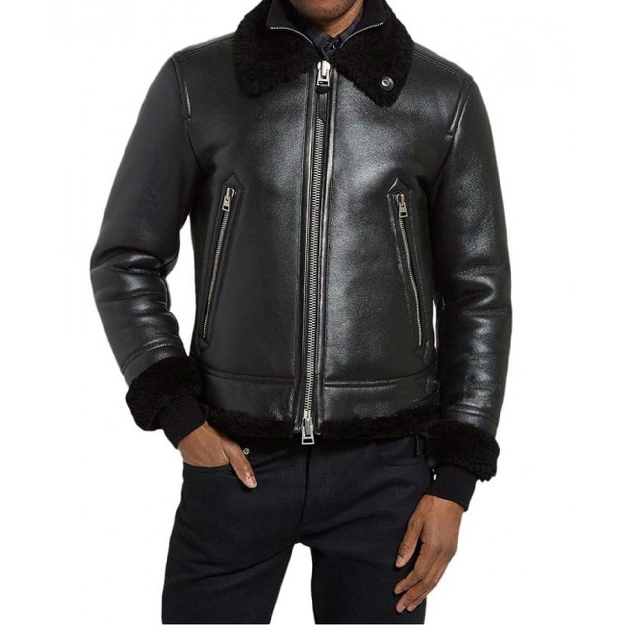 Geniune Leather Shearling Mens Jacket - Leather Jacket
