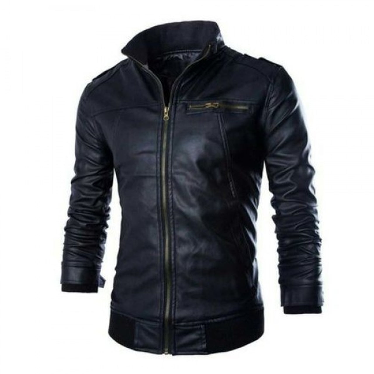 Genuine Leather Jacket with Black Collar and HEM