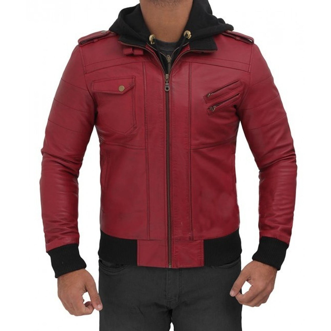 Maroon Hooded Bomber Jacket - Leather Jacket