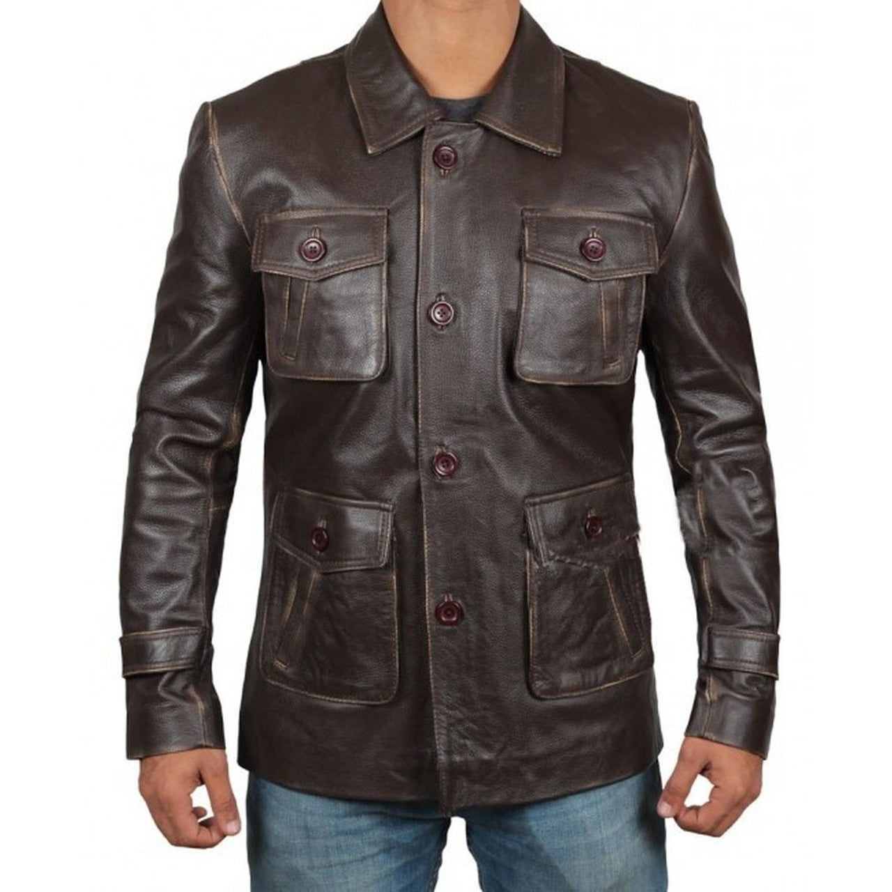 Men Atlanta Dark Brown Distressed Leather Jacket - Leather Jacket